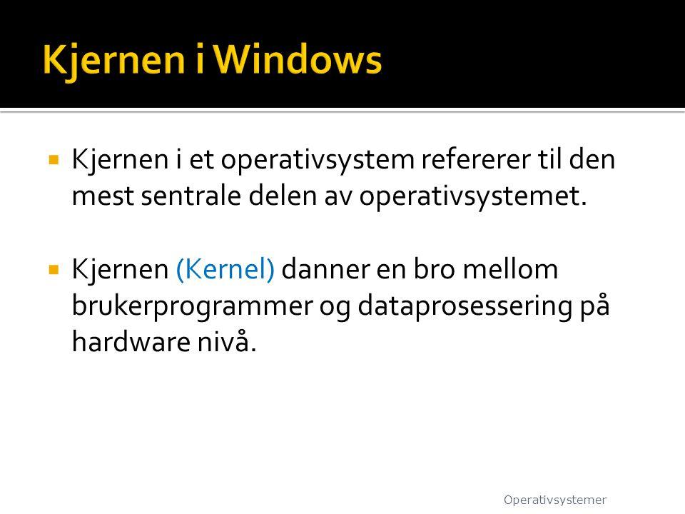 Kjernen i Windows Kjernen i et operativsystem refererer til den mest sentrale delen av operativsystemet.