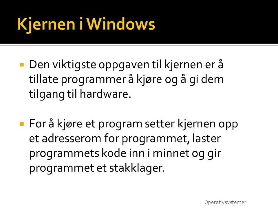 Kjernen i Windows Den viktigste oppgaven til kjernen er å tillate programmer å kjøre og å gi dem tilgang til hardware.
