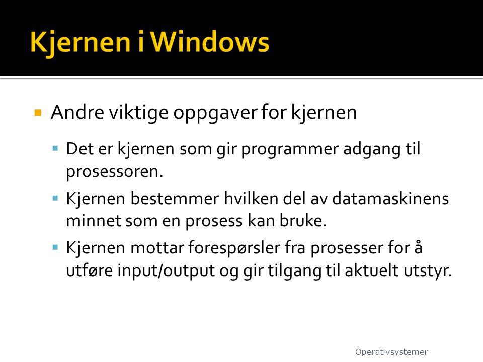 Kjernen i Windows Andre viktige oppgaver for kjernen