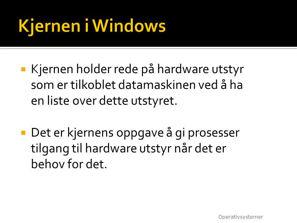 Kjernen i Windows Kjernen holder rede på hardware utstyr som er tilkoblet datamaskinen ved å ha en liste over dette utstyret.