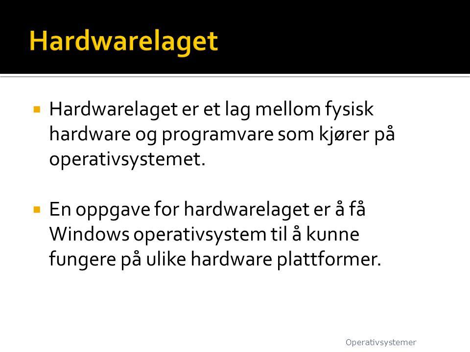 Hardwarelaget Hardwarelaget er et lag mellom fysisk hardware og programvare som kjører på operativsystemet.