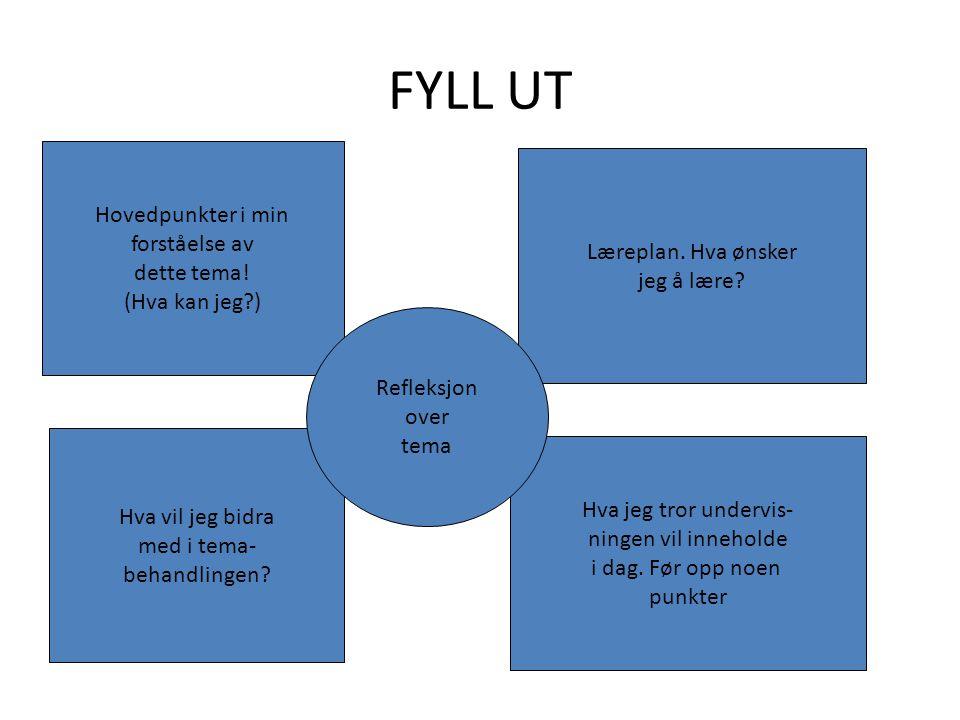 FYLL UT Hovedpunkter i min forståelse av Læreplan. Hva ønsker