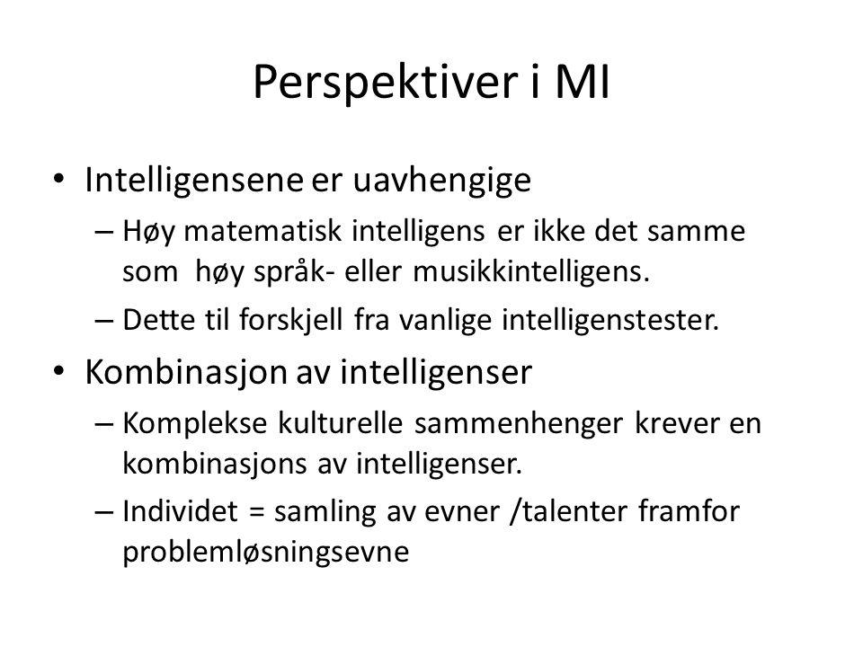 Perspektiver i MI Intelligensene er uavhengige