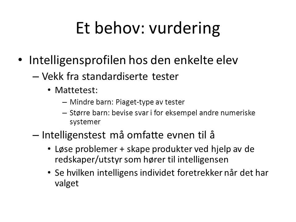 Et behov: vurdering Intelligensprofilen hos den enkelte elev
