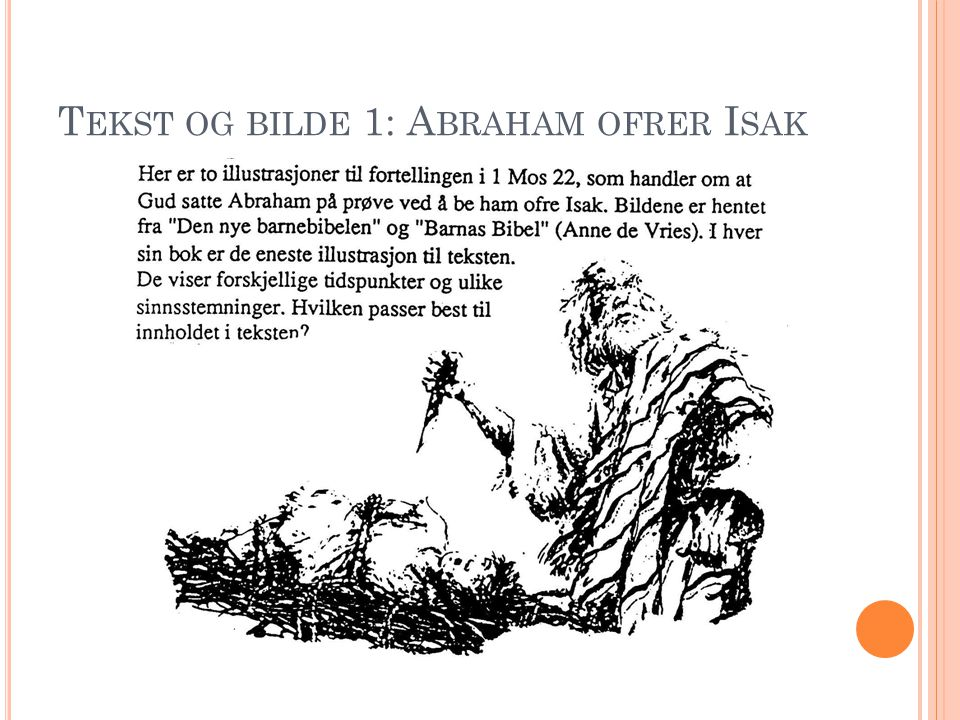 Tekst og bilde 1: Abraham ofrer Isak