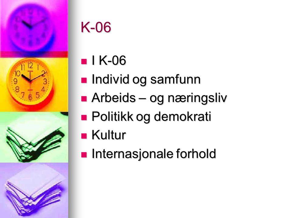 K-06 I K-06 Individ og samfunn Arbeids – og næringsliv