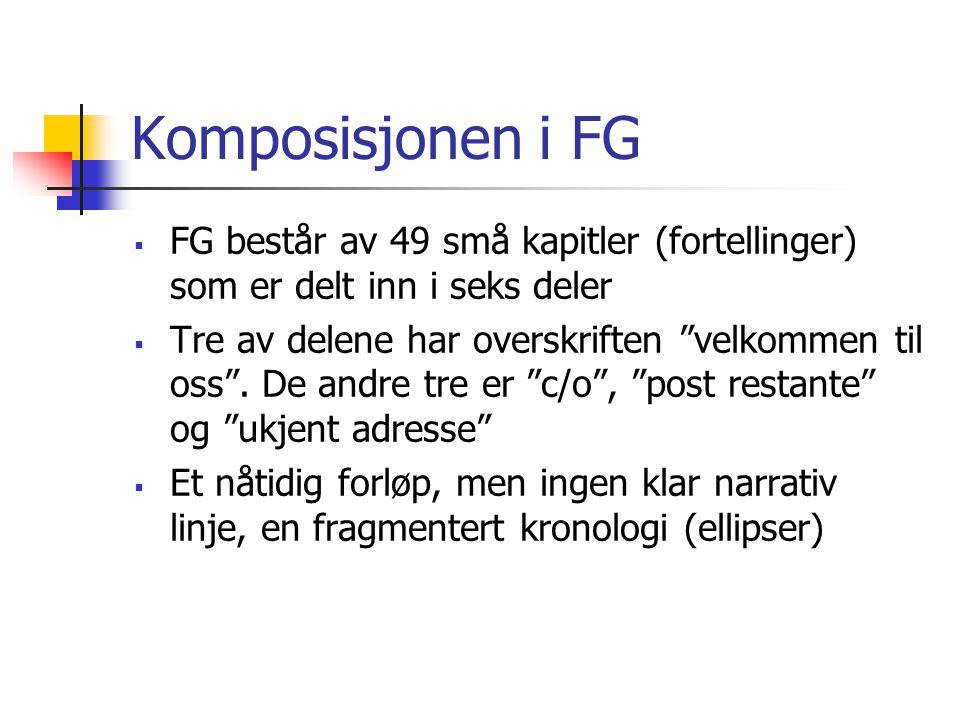 Komposisjonen i FG FG består av 49 små kapitler (fortellinger) som er delt inn i seks deler.