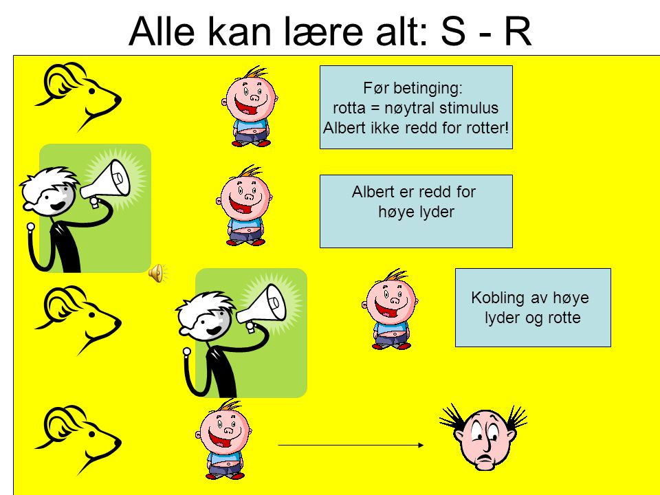 Alle kan lære alt: S - R Før betinging: rotta = nøytral stimulus