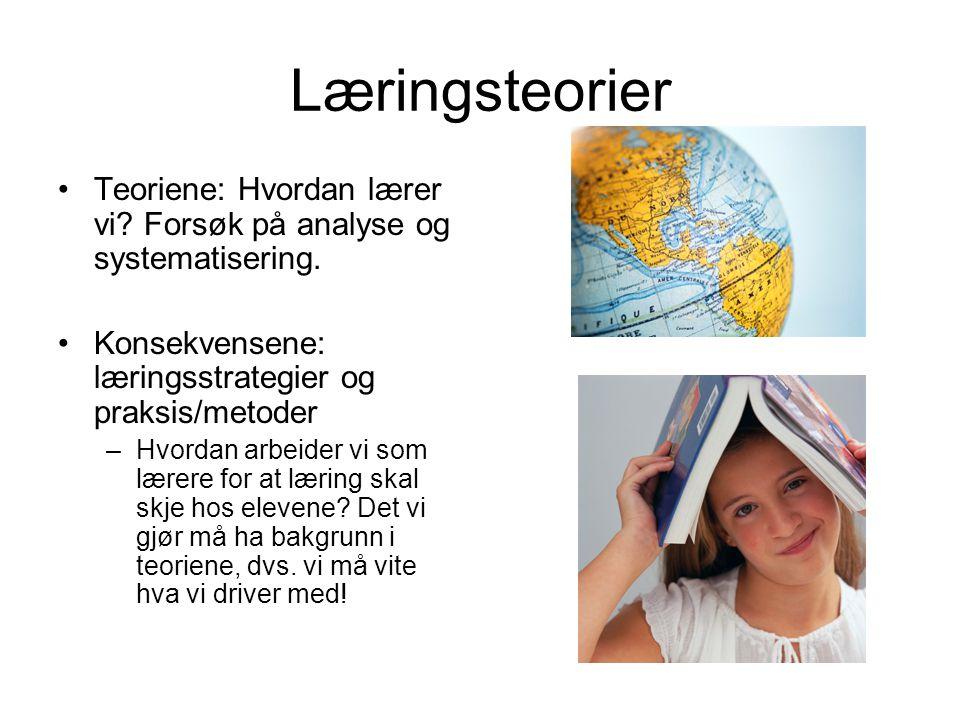 Læringsteorier Teoriene: Hvordan lærer vi Forsøk på analyse og systematisering. Konsekvensene: læringsstrategier og praksis/metoder.