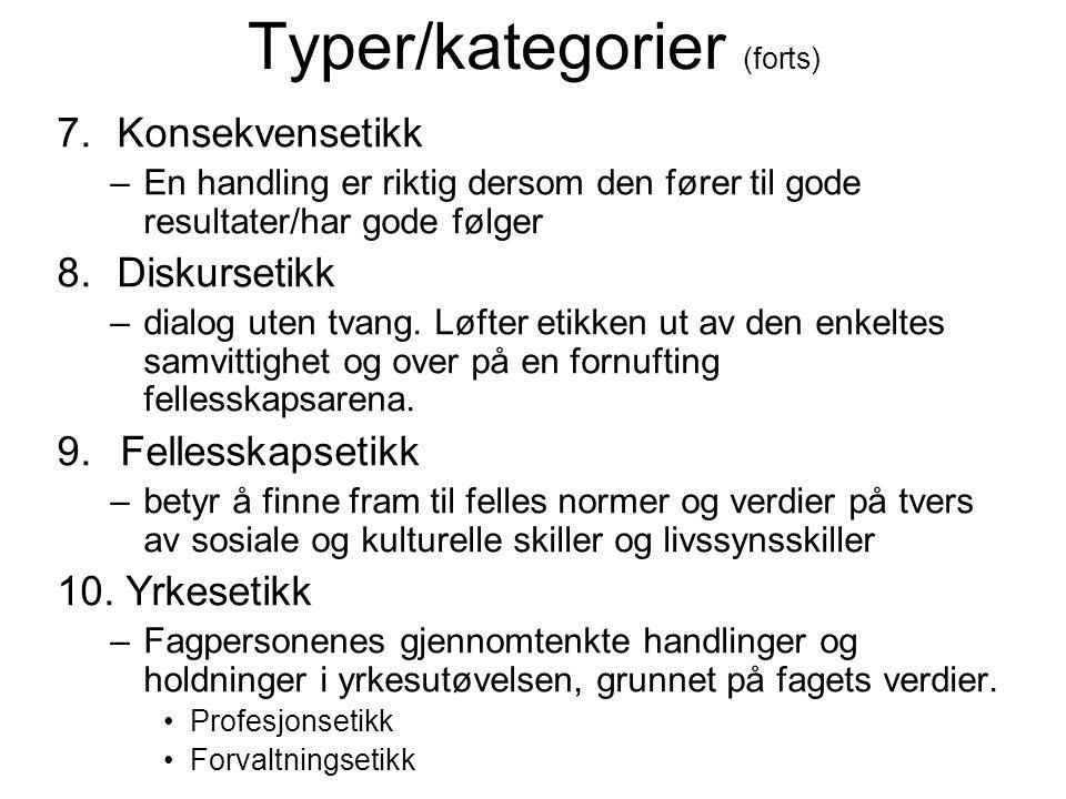 Typer/kategorier (forts)