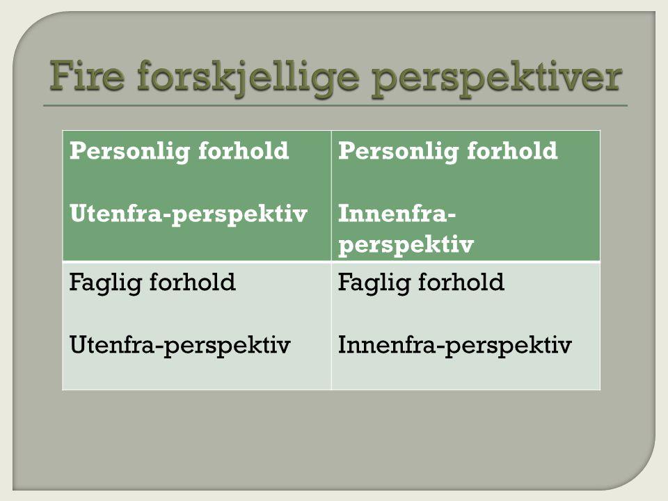 Fire forskjellige perspektiver