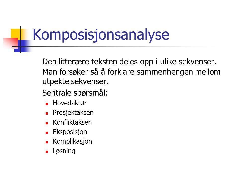 Komposisjonsanalyse Den litterære teksten deles opp i ulike sekvenser. Man forsøker så å forklare sammenhengen mellom utpekte sekvenser.