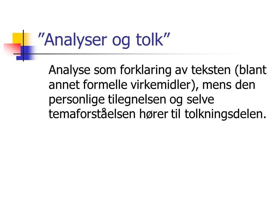 Analyser og tolk