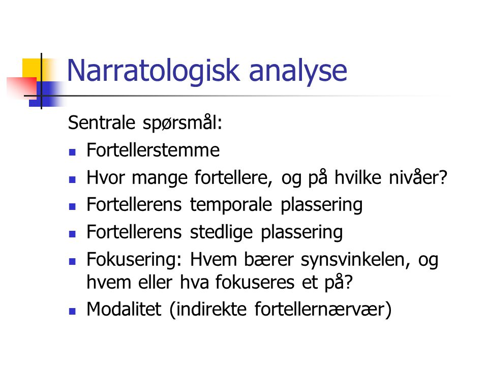 Narratologisk analyse