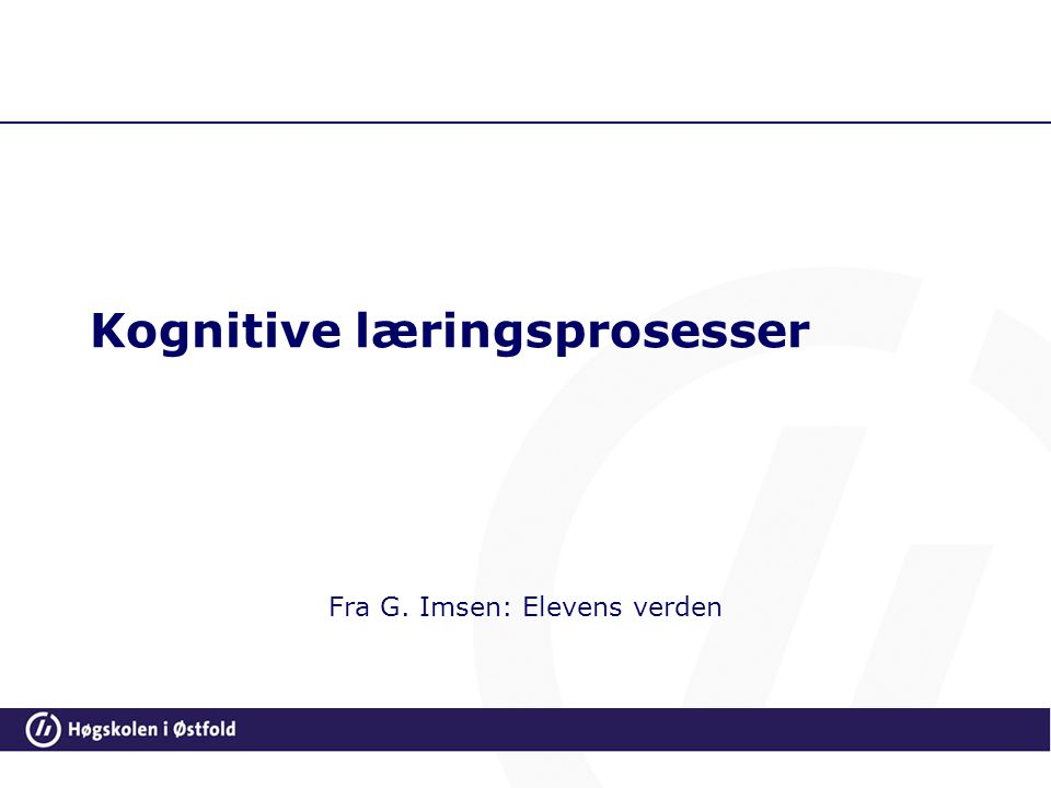 Kognitive læringsprosesser