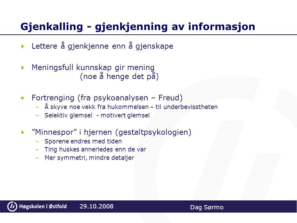 Gjenkalling - gjenkjenning av informasjon