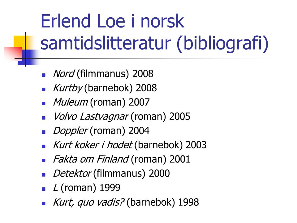 Erlend Loe i norsk samtidslitteratur (bibliografi)