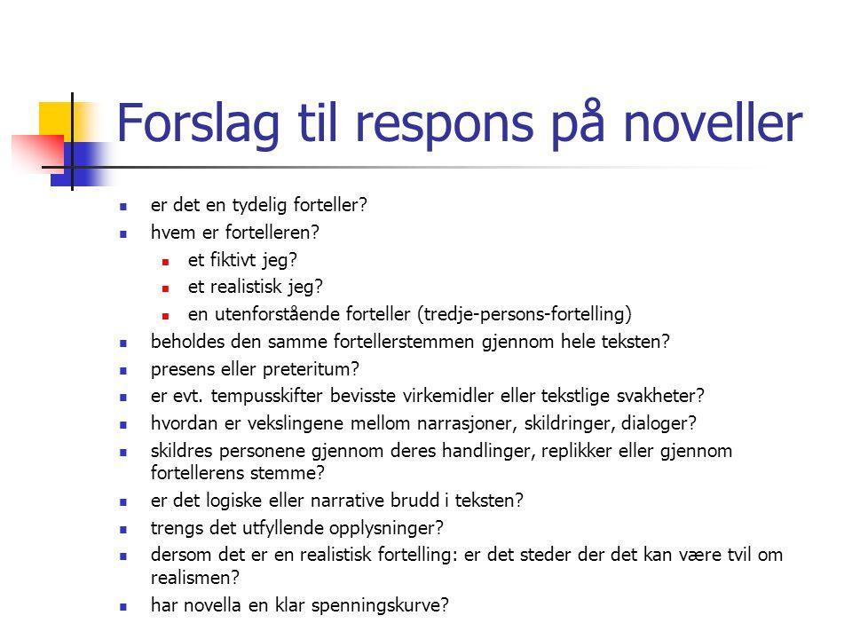 Forslag til respons på noveller