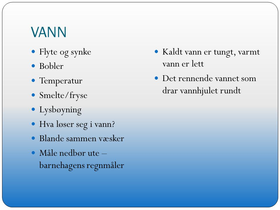 VANN Flyte og synke Bobler Temperatur Smelte/fryse Lysbøyning