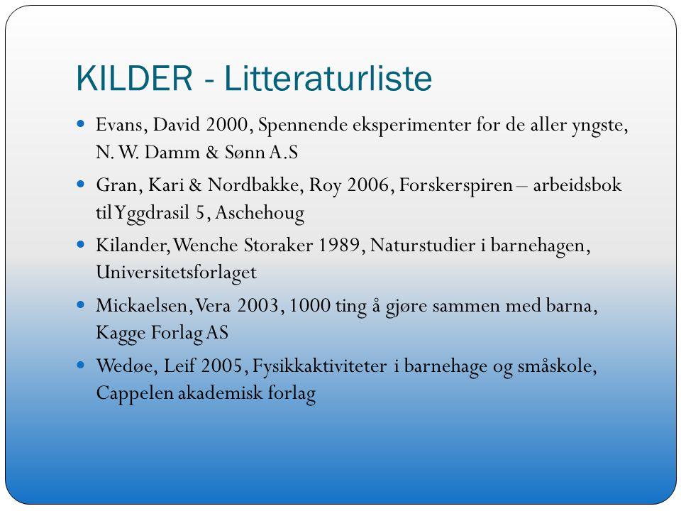 KILDER - Litteraturliste