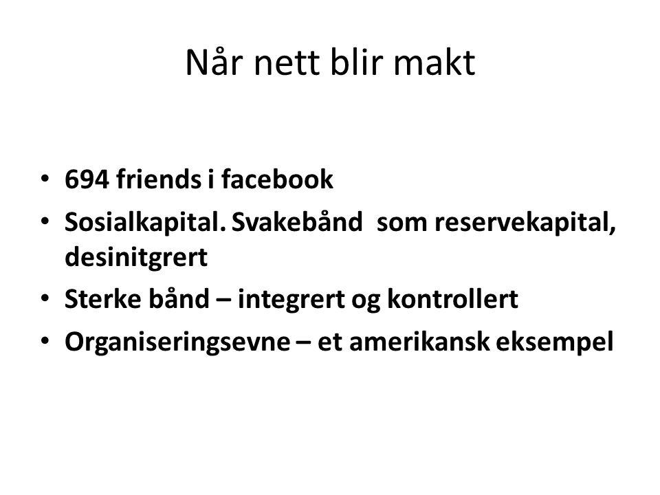 Når nett blir makt 694 friends i facebook
