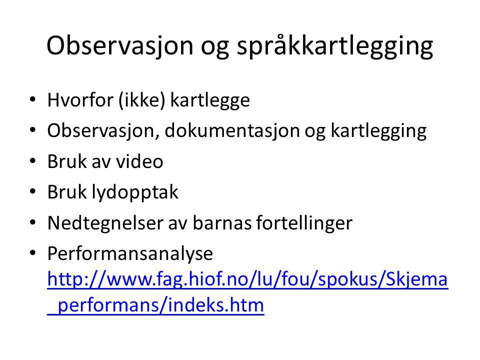 Observasjon og språkkartlegging