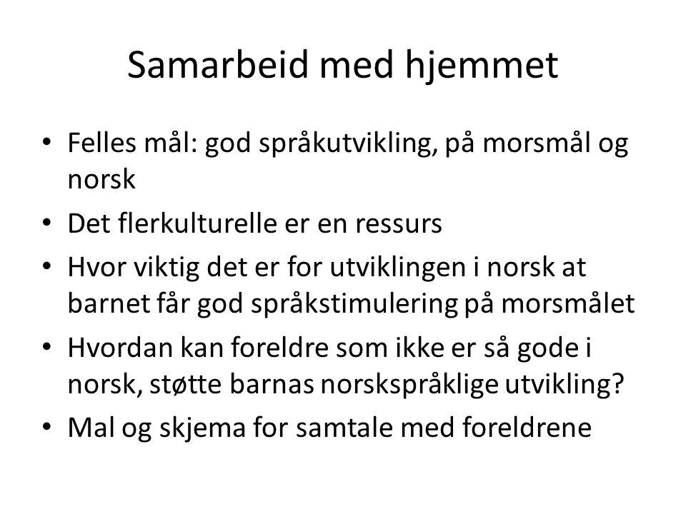 Samarbeid med hjemmet Felles mål: god språkutvikling, på morsmål og norsk. Det flerkulturelle er en ressurs.