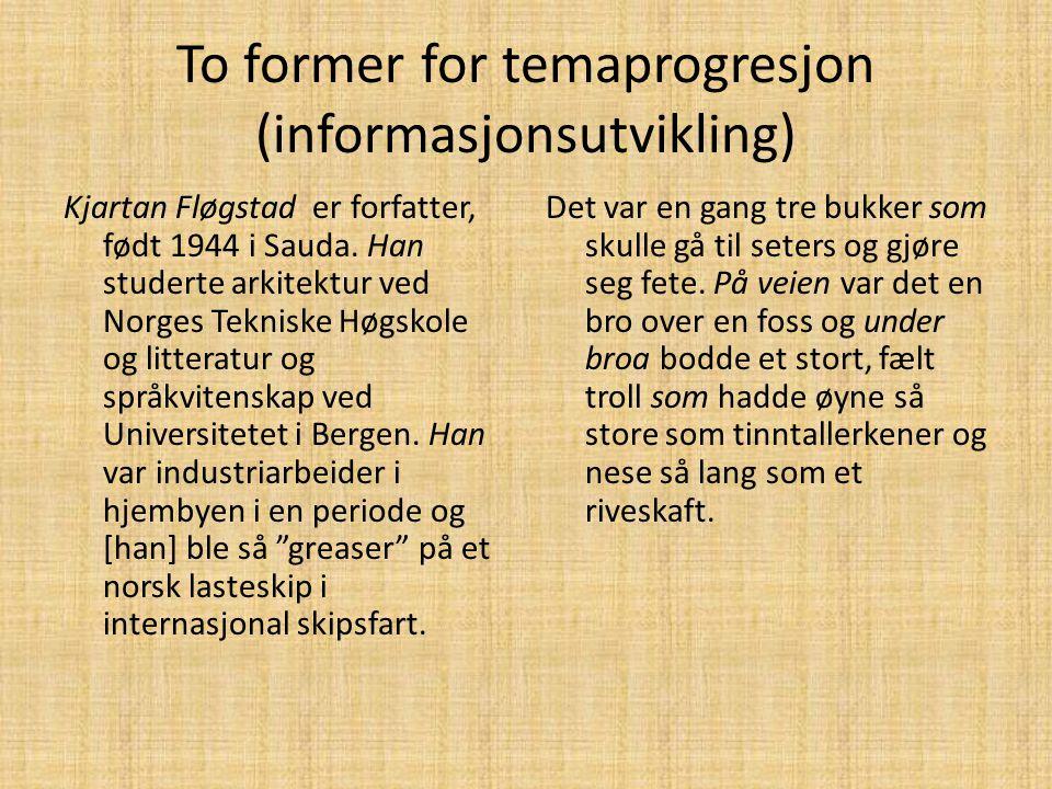 To former for temaprogresjon (informasjonsutvikling)