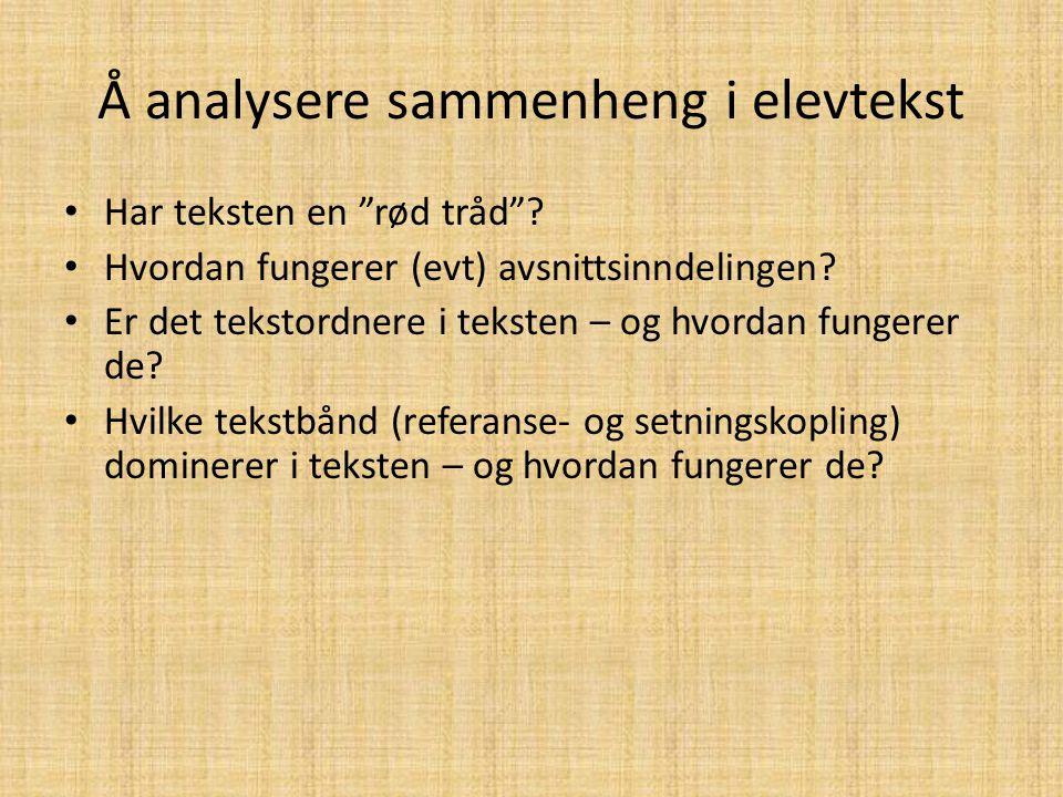 Å analysere sammenheng i elevtekst