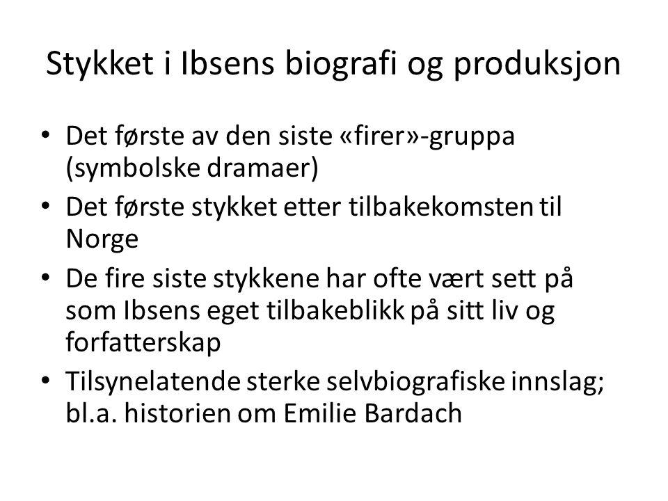 Stykket i Ibsens biografi og produksjon
