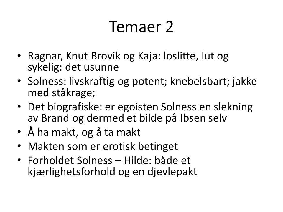 Temaer 2 Ragnar, Knut Brovik og Kaja: loslitte, lut og sykelig: det usunne. Solness: livskraftig og potent; knebelsbart; jakke med ståkrage;
