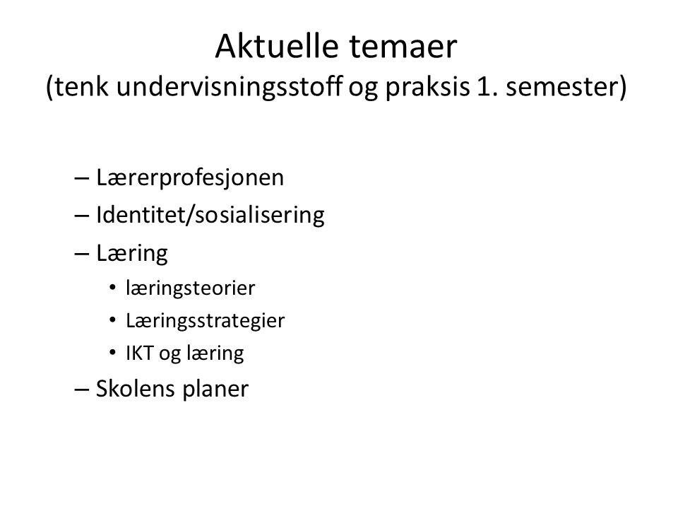 Aktuelle temaer (tenk undervisningsstoff og praksis 1. semester)