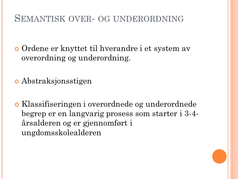Semantisk over- og underordning