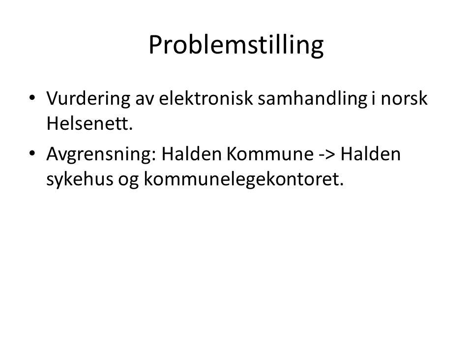 Problemstilling Vurdering av elektronisk samhandling i norsk Helsenett.