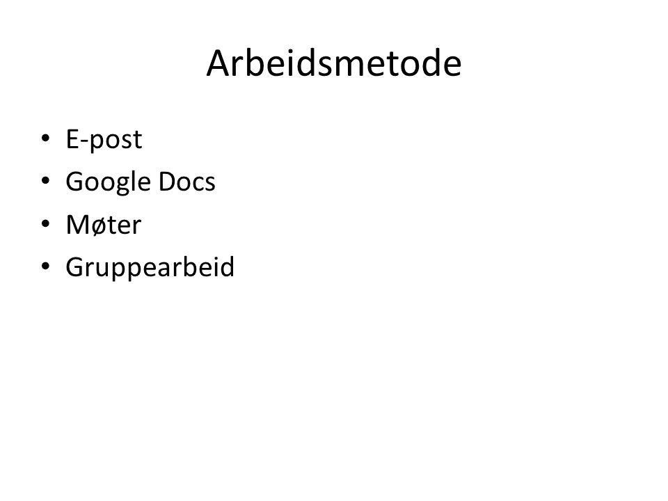 Arbeidsmetode E-post Google Docs Møter Gruppearbeid