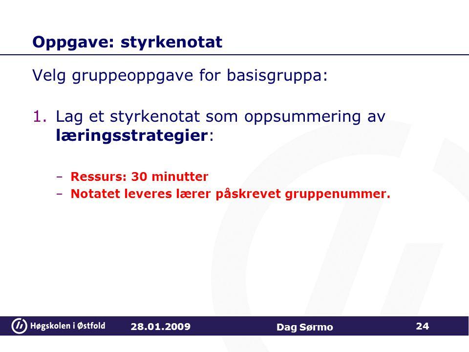 Velg gruppeoppgave for basisgruppa: