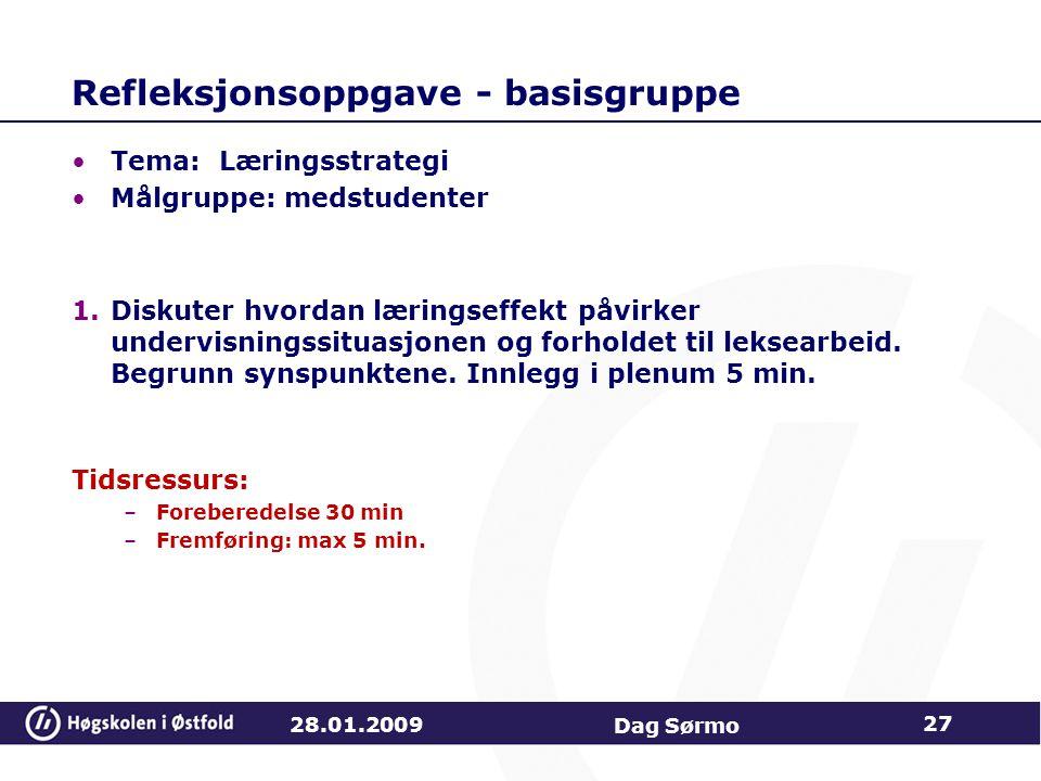 Refleksjonsoppgave - basisgruppe