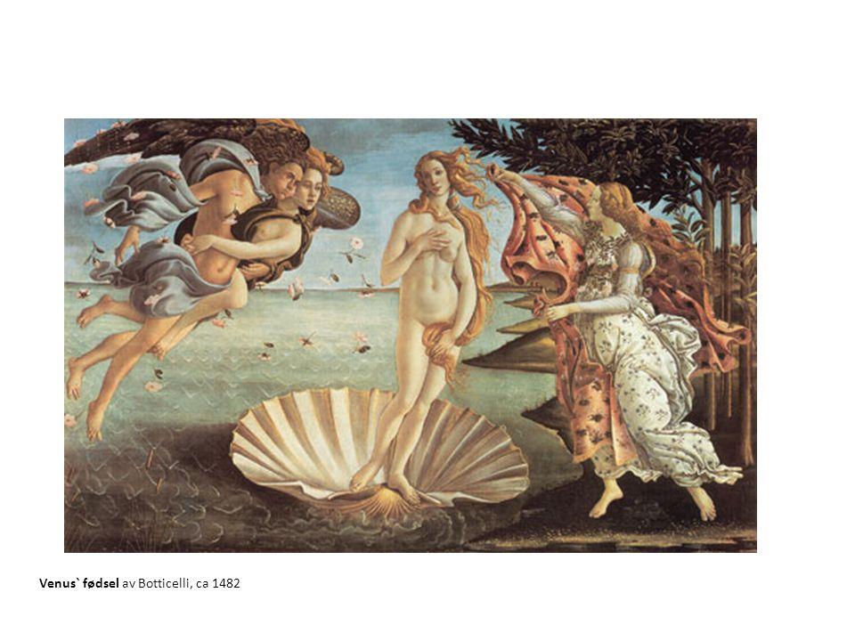 Venus` fødsel av Botticelli, ca 1482