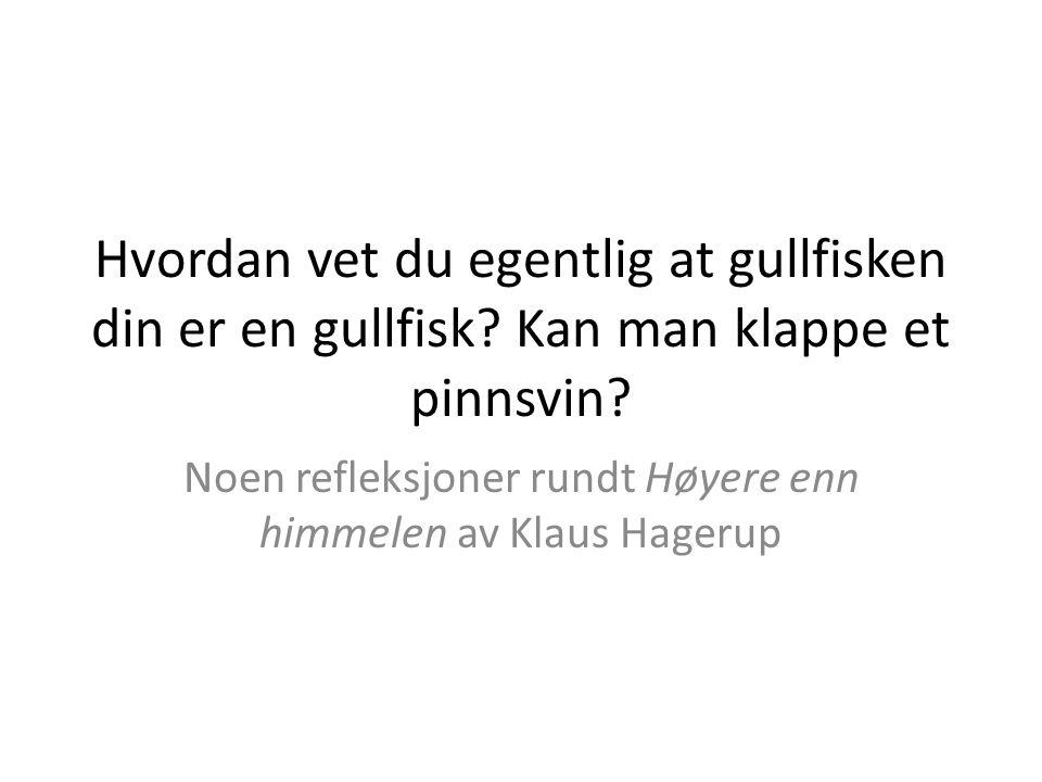 Noen refleksjoner rundt Høyere enn himmelen av Klaus Hagerup