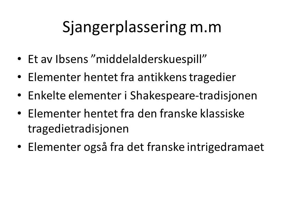 Sjangerplassering m.m Et av Ibsens middelalderskuespill