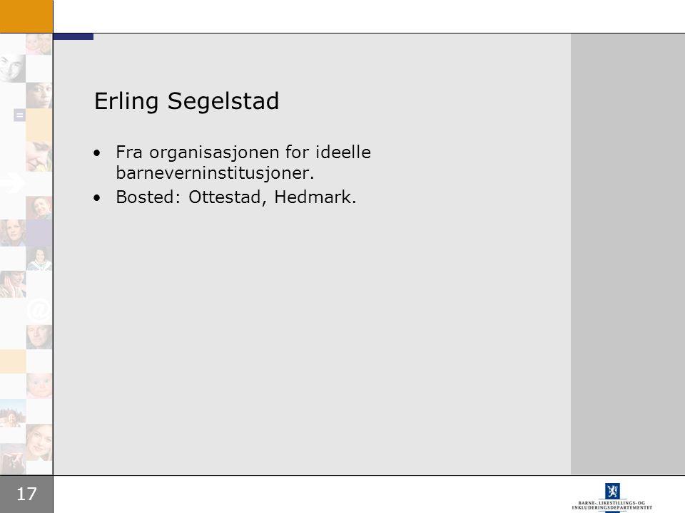 Erling Segelstad Fra organisasjonen for ideelle barneverninstitusjoner. Bosted: Ottestad, Hedmark.