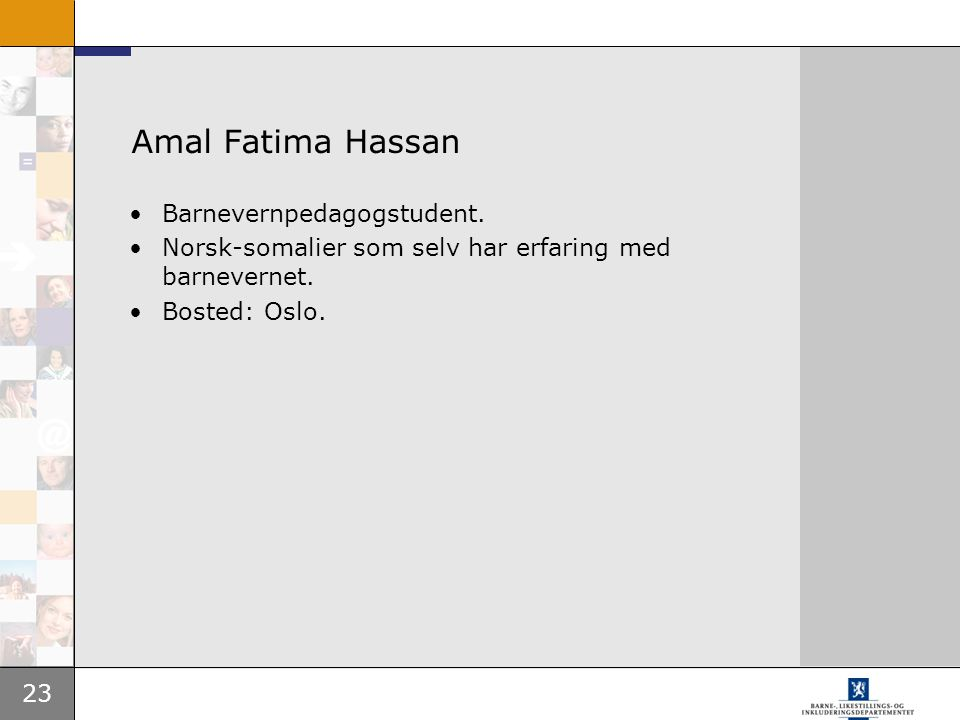 Amal Fatima Hassan Barnevernpedagogstudent.