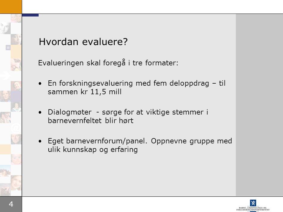 Hvordan evaluere Evalueringen skal foregå i tre formater: