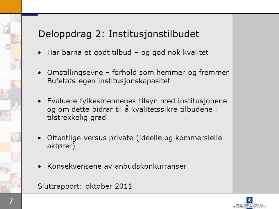 Deloppdrag 2: Institusjonstilbudet