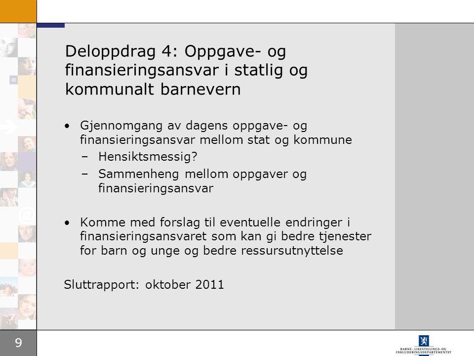 Deloppdrag 4: Oppgave- og finansieringsansvar i statlig og kommunalt barnevern