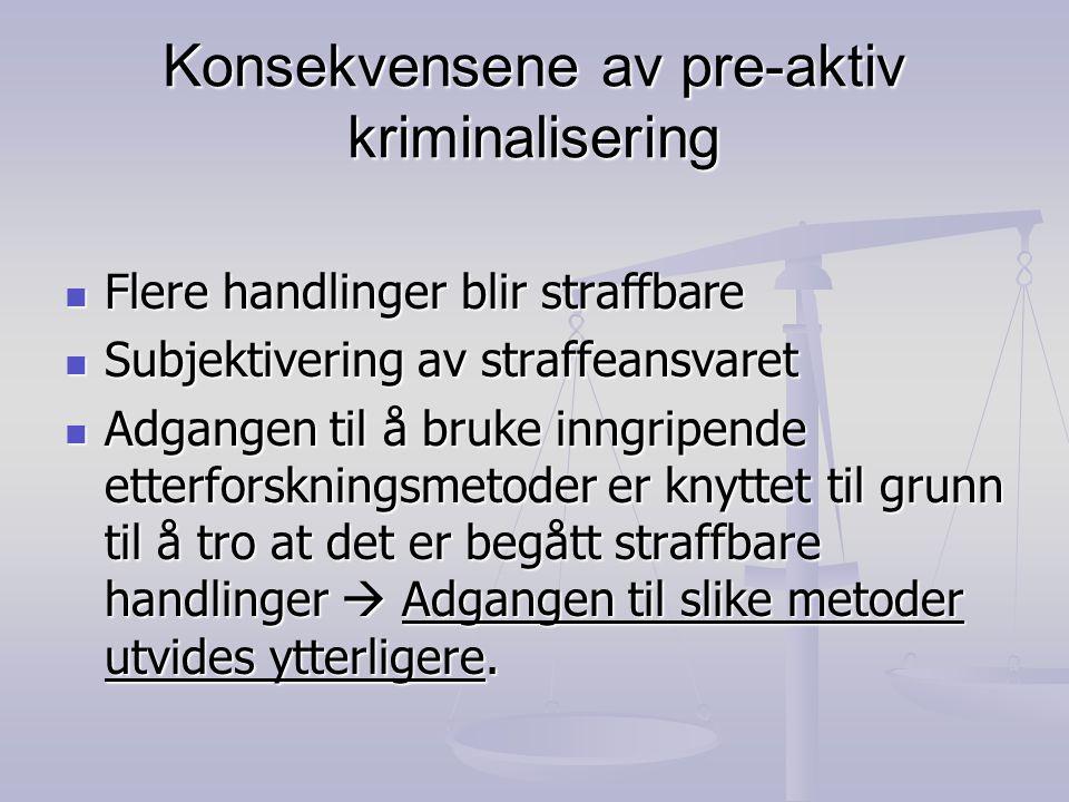 Konsekvensene av pre-aktiv kriminalisering