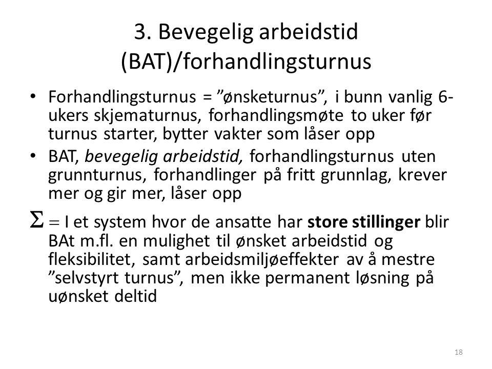 3. Bevegelig arbeidstid (BAT)/forhandlingsturnus