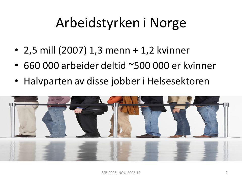 Arbeidstyrken i Norge 2,5 mill (2007) 1,3 menn + 1,2 kvinner