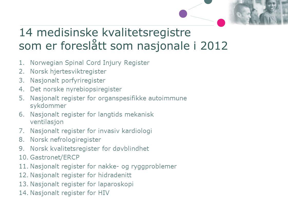 14 medisinske kvalitetsregistre som er foreslått som nasjonale i 2012