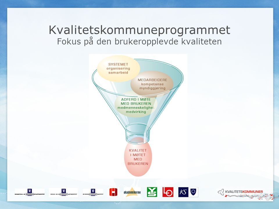 Kvalitetskommuneprogrammet Fokus på den brukeropplevde kvaliteten